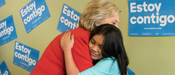 "Democrat Hillary Clinton promises ""I am with you"" to Mexican immigrants (Clinton campaign photo)."